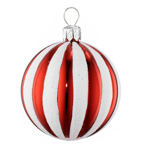 RIBBED STRIPE BAUBLE Red And White