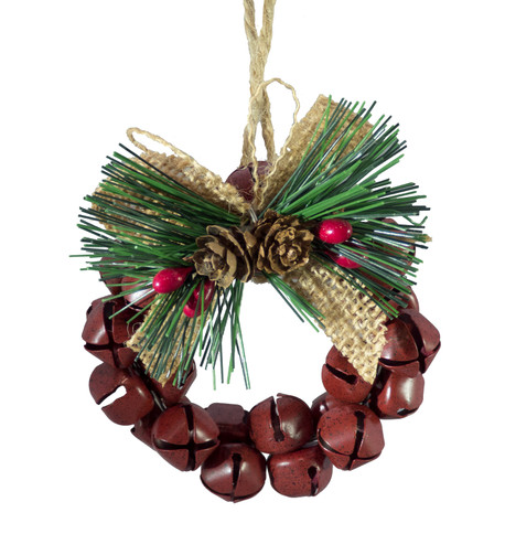 METAL BELL WREATH - RED Red