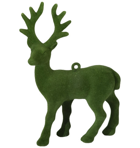 FLOCKED REINDEER - GREEN Green
