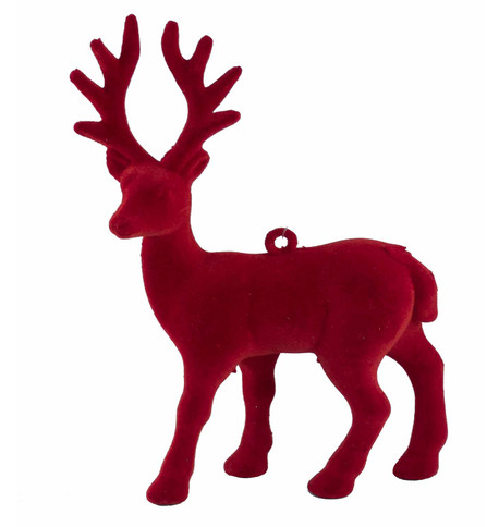FLOCKED REINDEER - RED Red