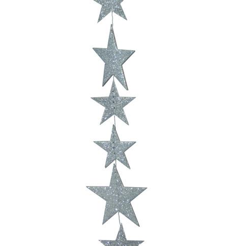 GLITTER STAR GARLAND - SILVER Silver