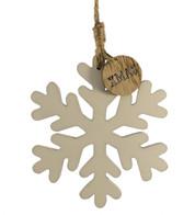 wooden snowflake hanger - White