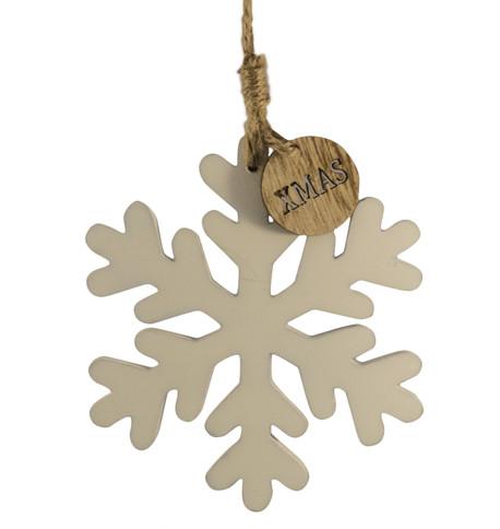 wooden snowflake hanger White