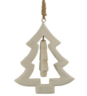 Wooden christmas tree hanger - White