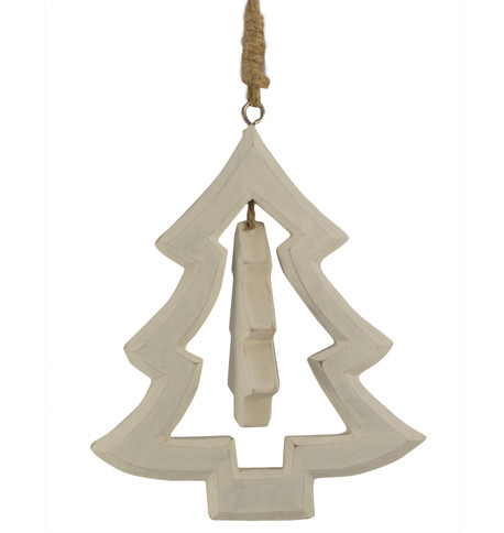 Wooden christmas tree hanger White