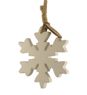 WOODEN SNOWFLAKE HANGER - SMALL - White