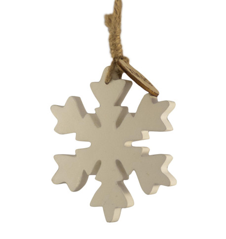WOODEN SNOWFLAKE HANGER - SMALL White