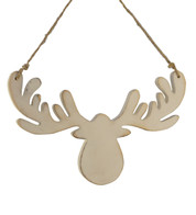 Wooden moose head silhouette - White