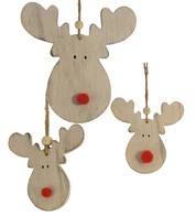 WOODEN MOOSE HEAD HANGERS - White