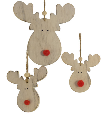 WOODEN MOOSE HEAD HANGERS White