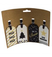gift tag set - BLACK & GOLD - Black