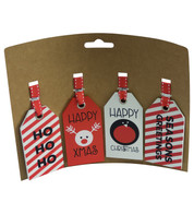 gift tag set - RED & WHITE - Red and White