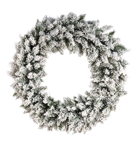 Flocked NORWAY SPRUCE WREATH White