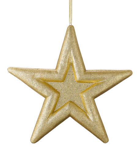 GLITTERED EMBOSSED STAR - GOLD Gold