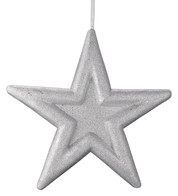 GLITTERED EMBOSSED STAR - SILVER - Silver