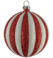 Striped glitter bauble - Red And White