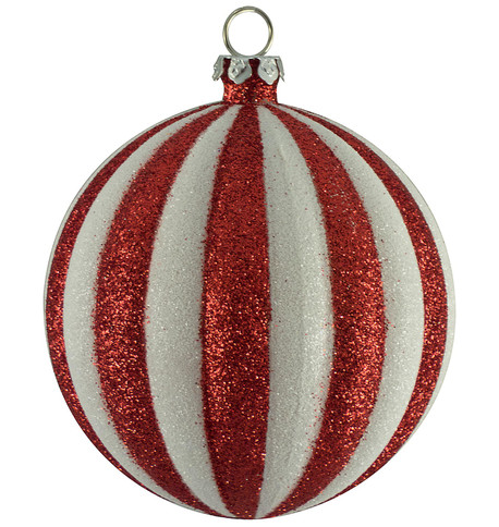 Striped glitter bauble Red And White