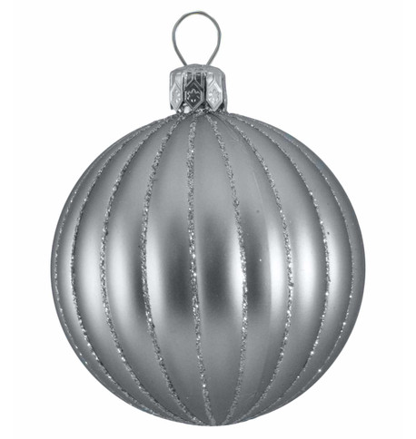 RIBBED BAUBLES - silver matt Silver