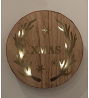 WOODEN LED ANTLER WALL PLAQUE - Natural
