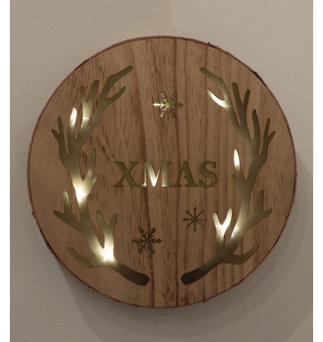 WOODEN LED ANTLER WALL PLAQUE Natural
