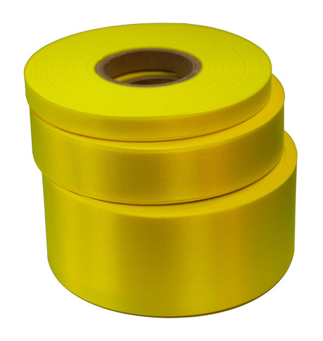 Fluoro Yellow Satin Acetate Ribbon Fluorescent Yellow
