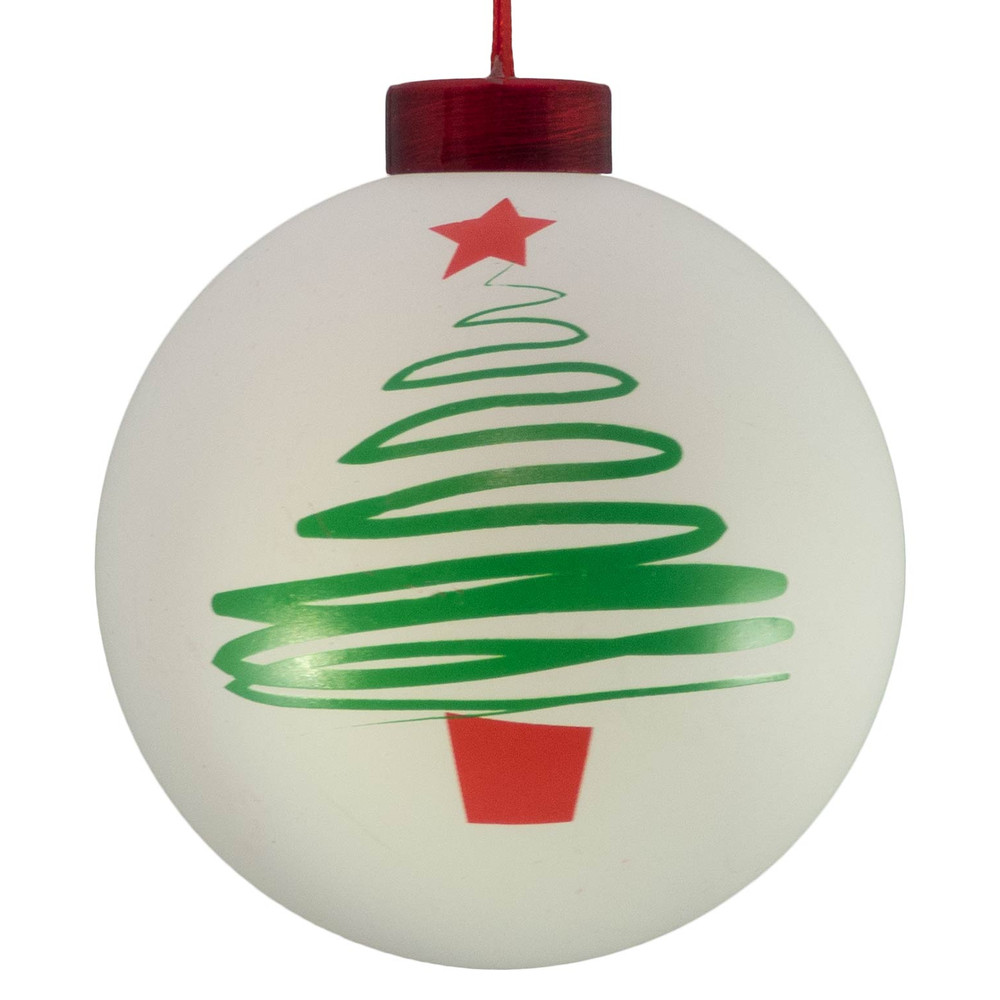 Christmas Tree Icon.Contemporary Icon Baubles White Christmas Tree