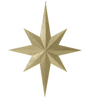 Eight point large glitter star - gold - Gold