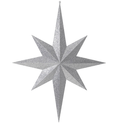 Eight point large glitter star - silver Silver