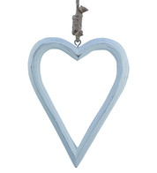 Hanging Wooden Heart Silhouette - White