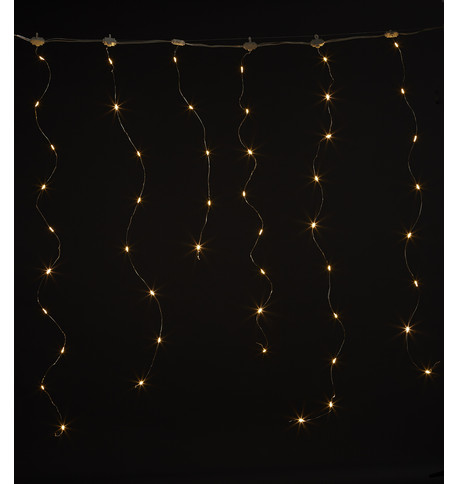 Silver Wire Icicle Lights Warm White