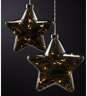 Pewter Glass Star Lights - Silver