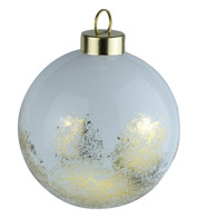 White Gold Leaf Baubles - White