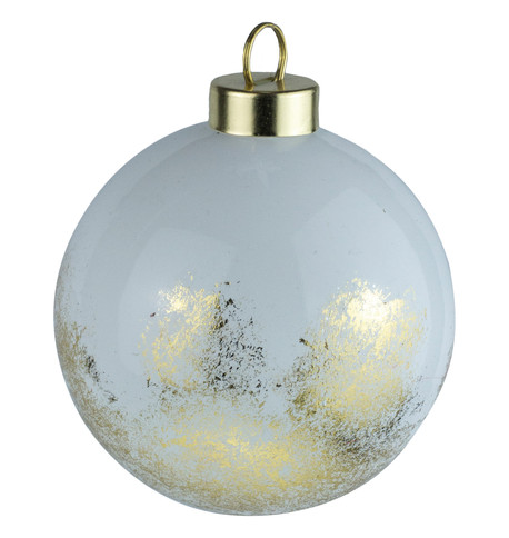 White Gold Leaf Baubles White