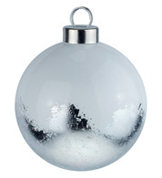 White Silver Leaf Baubles - White