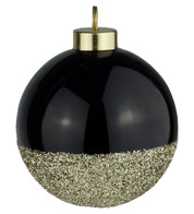 Black Gold Glitter Baubles - Black
