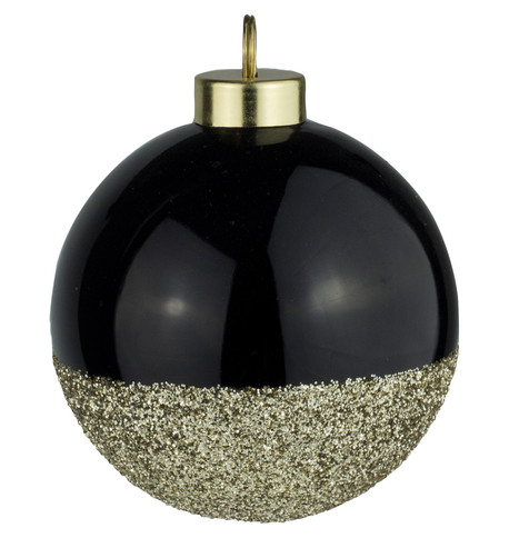 Black Gold Glitter Baubles Black