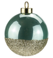 Mint Gold Glitter Baubles - Green