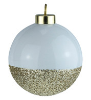 White Gold Glitter Baubles - White
