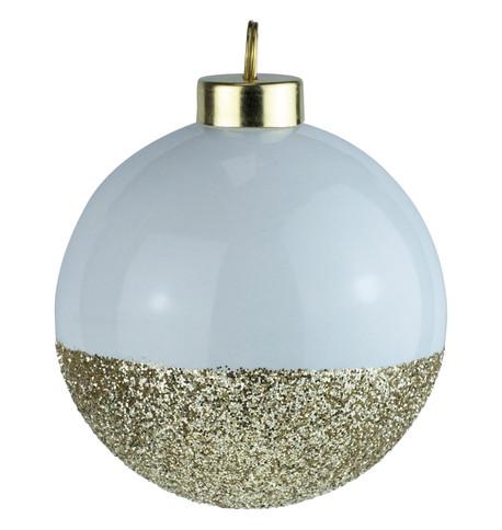 White Gold Glitter Baubles White
