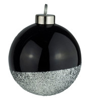 Black Silver Glitter Baubles - Black