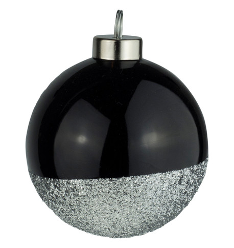 Black Silver Glitter Baubles Black