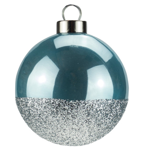 Blue Silver Glitter Baubles Blue