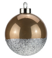 Brown Silver Glitter Baubles - Brown