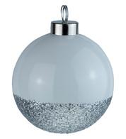 White Silver Glitter Baubles - White