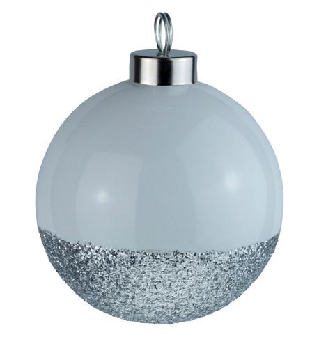 White Silver Glitter Baubles White