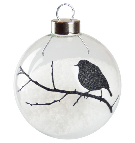 Black Robin Silhouette Baubles Black