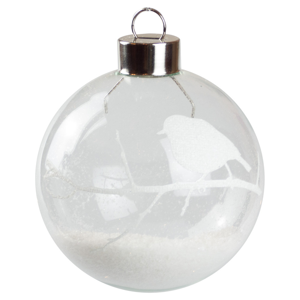 white robin silhouette baubles dzd