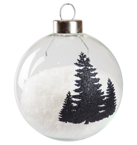 Black Silhouette Tree Baubles Black