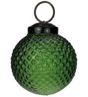 Green Glass Hobnail Baubles - Green
