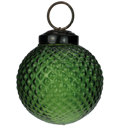 Green Glass Hobnail Baubles Green